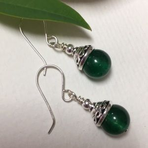 925 ear wires genuine jade green Celtic silver